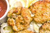New england style crab cakes — Stock Photo