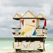 Iconic lifeguard beach hut south beach miami florida — Stock Photo