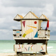 Stock Photo: Iconic lifeguard beach hut south beach miami florida