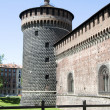 Stock Photo: Left tower Castello Sforzesco Castle MilItaly