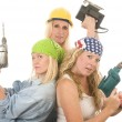 Sexy team contractor construction ladies with tools — Stock Photo #13087476