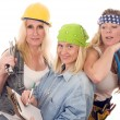 Team of three sexy women workers contractors with tools — Stock Photo #13088126