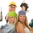Sexy contractor construction lady with tools — Stok fotoğraf