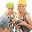 Постер, плакат: Sexy team contractor construction ladies with tools