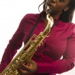Young hispanic black womplaying tenor saxophone — Stock Photo #13089890