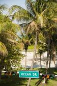 Ocean drive street sign south beach park miami — Stock Photo