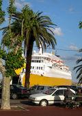 Cruiseschip haven bastia corsica frankrijk — Stockfoto