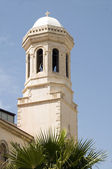 Bell tower spire agia napa greek orthodox cathedral lemesos cyprus — Stock Photo
