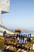 Café santorini griechenland vulkaninsel öffnen — Stockfoto