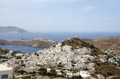 The chora capital landscape with view of aegean sea Ios Cyclades — Stock Photo