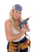 Sexy contractor construction lady with tools — Stock Photo