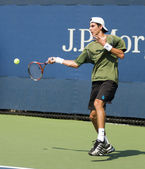 Luigi Dagord from Italy smashing a forehand stroke — Stock Photo