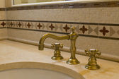 Tile detail faucet bathroom — Stock Photo