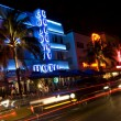 Night scene ocean drive miami — Stock Photo