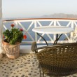 ストック写真: Santorini incredible view restaurant dining