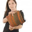 Stock Photo: WomTurkish kilim woven hand-bag pocketbook