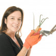 Middle age woman gardener with cultivator plant tools — Stock Photo