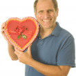 Middle age senior man  box of Valentine day chocolate candy — Stock fotografie