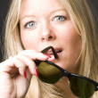 Royalty-Free Stock Photo: Cute forty year old woman vintage sunglasses