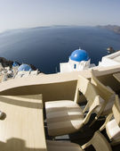 Santorini incredible view patio setting — Stock Photo