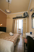 Greek island hotel room — Stock Photo
