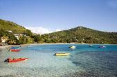 Amitié baie avec bequia de bateaux de pêche native colorés — Photo
