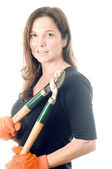 Middle age woman gardener with lopper tree cutting tool — Stock Photo