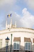 Parliament building Gothic architecture flag Bridgetown Barbados — Stock Photo