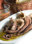 Picture of marinated octopus house wine metal carafe with crusty bread — Stock Photo