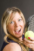 Woman tennis player happy — Stock Photo