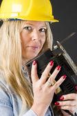 Home repair woman contractor — Stok fotoğraf