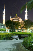 Mosque Hippodrome park night Istanbul Turkey — Stock Photo