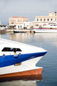 Boats in Hermoupolis Harbor Syros Greece — Stockfoto