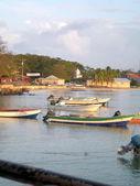 Fishing boats brig bay corn island nicaragua — Stock Photo