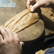 Hand rolling cigar production — Stock Photo