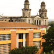 Stock Photo: LCasde Los Pueblos Presidential House Office and Old Cathedral Santo Domingo ManaguNicaragua