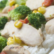 图库照片: Chicken breast slices with vegetables