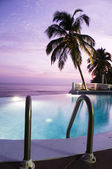 Luxury infinity swimming pool caribbean sunset — Stock Photo