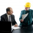Two business men construction business office agreement — Stock Photo