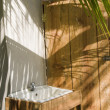 Постер, плакат: Outdoor sink washroom next to outhouse nicaragua