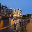 Stock Photo: Amsterdam night canal scen with bicycles and boats