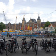Stock Photo: Commuter bicycles parked near centraal station amsterd