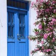 Greek island ancient building door with flowers — Стоковая фотография