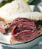Corned beef sandwich rye bread — Stock Photo