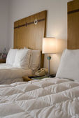 Hotel room with down comforter south beach florida — Stock Photo