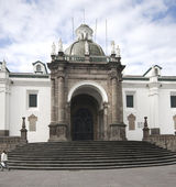 Cathedral national on plaza grande quito ecuador — Stock Photo