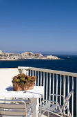 Sliema malta rooftop hotel cafe view of mediterranean coast — Stock Photo
