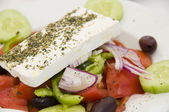 Greek salad with feta cheese — Stock Photo