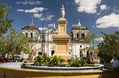 Fountain Ruben Dario Park Cathedral of Leon Nicaragua — Stock Photo