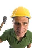 Entreprenör reparatör med verktyget bälte och hammare — Stockfoto